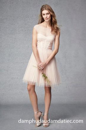 đầm dạ tiệc/ áo cưới dạ tiệc công chúa cúp ngực màu cam hồng phấn nhạt