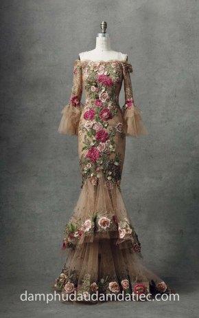dam da hoi dep an tuong long lay MARCHESA Fall 2018-Look 11 may vay cuoi dep tp hcm sai gon meera meera fashion concept